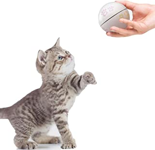 Vircomone Smart Interactive Cat Toys Ball, USB Rechargeable Shake Activated Automatic Random Scrolling Electronic Cat Play, Built-in Spinning Sparkle Eye-Protection LED Catnip Chamber Cat Toys