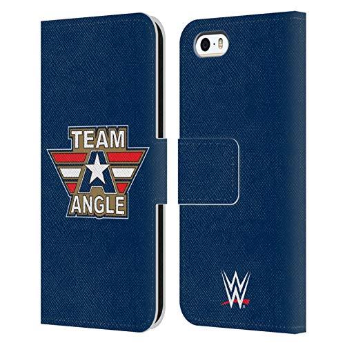Head Case Designs Licenza Ufficiale WWE Logotipo Kurt Angle Cover in Pelle a Portafoglio Compatibile con Apple iPhone 5 / iPhone 5s / iPhone SE 2016