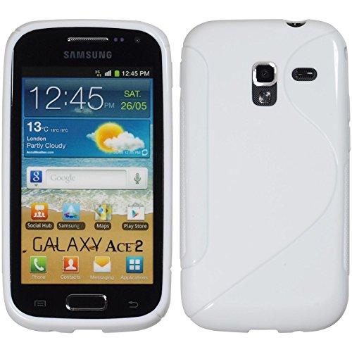 PhoneNatic Custodia Compatibile con Samsung Galaxy Ace 2 Cover Bianco S-Style Galaxy Ace 2 in Silicone + Pellicola Protettiva