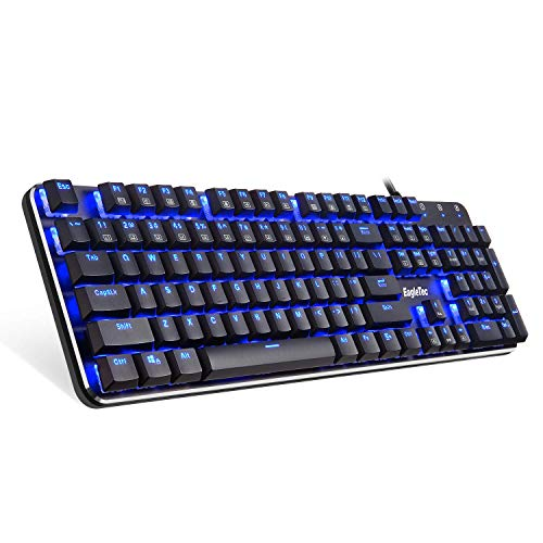 EagleTec KG050-BR LED Blue Backlit Mechanical Gaming Keyboard Low Profile Mechanical Gamers Keyboard 104 Key Metal Mechanical Computer USB Gaming Keyboard for PC Quiet Cherry Brown Switches (Black)