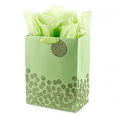 """Hallmark 13"""" Large Gift Bag with Tissue Paper (Green Glitter Dots) for Birthdays, Easter, St. Patrick's Day, Baby Showers, Gender Reveals, Any Occasion"""