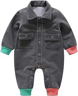 Fairy Baby Infant Baby Boys Girls Outfits Lapel Denim Romper Long Sleeve Onesies Jumpsuit