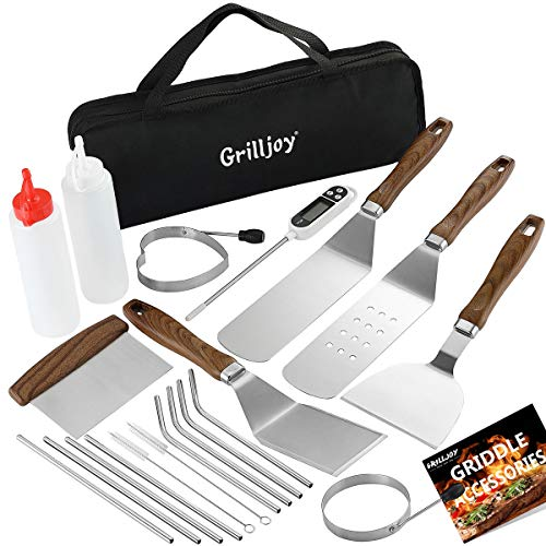 grilljoy Heavy Duty Griddle Accessories Kit - 21PCS Exclusive Griddle Tools Extra Thick Spatulas Set - Flat Top Grill Griddle Kit - Perfect Griddle Gift for Professional Grill Masters On Christmas