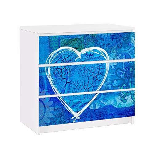 Bilderwelten Möbelfolie für IKEA Malm Kommode Klebefolie Dekorfolie Terra Azura 3X 20 x 80cm