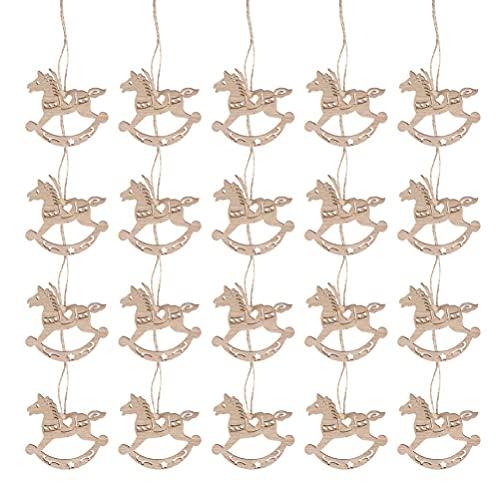 LIXBD Lot de 20 mini chevaux à bascule en bois à suspendre pour sapin de Noël - Décoration de mariage vintage - Étiquettes de cadeau - Couleur : bois
