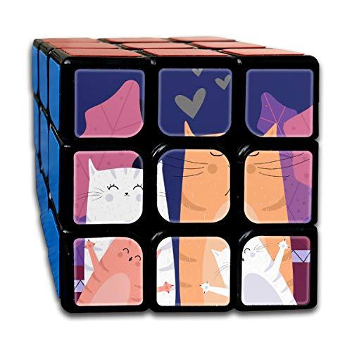 キューブ 3x3x3 Rubik Cube かわいい 猫 仲間 立体パズル マジック スピードキューブ 体キューブ トレーニング 競技用 回転スムーズ 知育玩具 5cm*5.5cm*5.5cm 初心者向け 脳トレ プレゼント