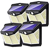 Solar Lights Outdoor, Claoner 128 LED Solar Motion Sensor Security Lights with 3 Lighting Modes IP65 Waterproof Durable Solar Powered Wall Lights 270°Lighting Angle for Yard Door Fence Pathway(4 Pack)