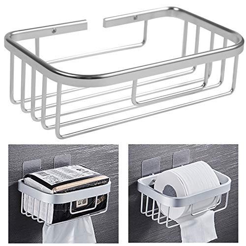iEago RC Portarrollos de papel higiénico rectangular de montaje en pared, soporte de papel de aluminio, cesta de toallas de papel multifuncional hueco estante de almacenamiento para baño y cocina