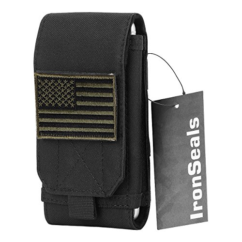 IronSeals Tactical MOLLE Cover Case, Large Heavy Duty Tatical Molle Loop Belt Pouch Cellphone Holster with Flag Patch for iPhone 11 Pro/X/8P/7P/XR, Samsung S10/S10e/Note8/9, Galaxy S9+/S8+