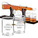 Murrano Whisky Karaffe mit Gravur - in Gewehrform 800 ml - 4er Whiskygläser Set - Whisky Dekanter - Geburtstagsgeschenk für Männer - personalisiert - Name