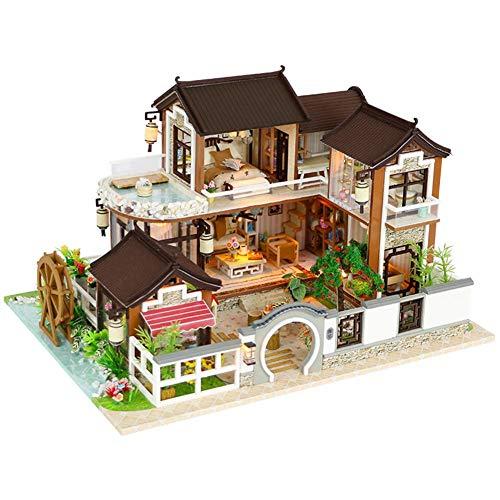 Puppenhaus Süß Haus DIY House Puppenhaus mit Licht Bausatz Holz Modell Set Puppenhaus kit DIY Dollhouse Ancient Architektur ohne Staubschutz Miniatur Kreatives Geburtstags weihnachts geschenk