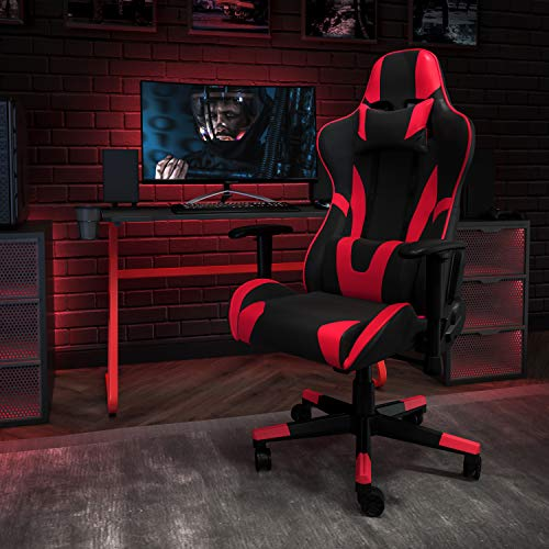 Flash Furniture Red Gaming Desk and Red/Black Reclining Gaming Chair Set with Cup Holder and Headphone Hook