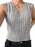 Girls Women Argyle Sweater Vest Knit V-Neck Plaid Vintage Streetwear Preppy Style Knitwear Crop Tank Top Outerwear (Grey, M)