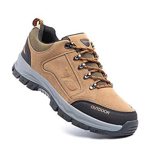 Zapatillas Trail Running Hombre Zapatos Senderismo Deporte Antideslizantes Cordones Ligero 2-Marrón EU43