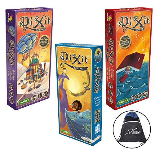 Dixit Expansion Bundle of 3: Journey, Odyessy, and Quest with Myraids Drawstring Bag