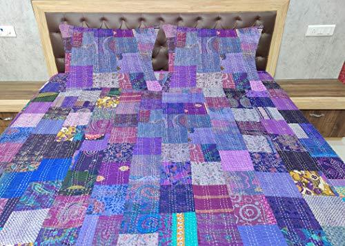 Sophia-Art Colcha de seda india Sari Kantha para cama individual o king étnico, colcha india de patchwork con funda de edredón (morado, King 90 x 108 pulgadas con fundas de funda)