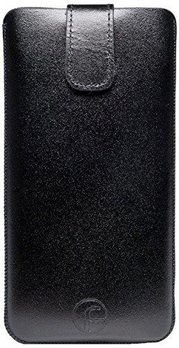 Original Favory Etui Tasche für / MEDION® LIFE® X4701 (MD 98272) / Leder Etui Handytasche Ledertasche Schutzhülle Hülle Hülle *Speziell - Lasche mit Rückzugfunktion* In Schwarz
