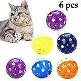 6ピースおかしい猫ボールベルリング演奏チューガラガラスクラッチプラスチックボールインタラクティブ猫トレーニングペット用品