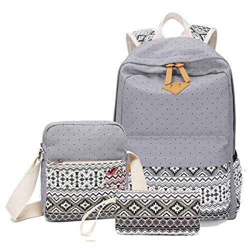 Backpack Set 3in 1 Teens Girls for School Cute Canvas School Bags Bookbag Daypacks (Style1 Grey)
