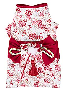 MaruPet Brocade Japanese Kimono for Girl Floral Pet Halloween Costume Bowknot Dog Dress for Small Extra Small Dog Wiener Dog Teddy Pug Chihuahua Shih Tzu Yorkshire Terriers Papillon Red XL
