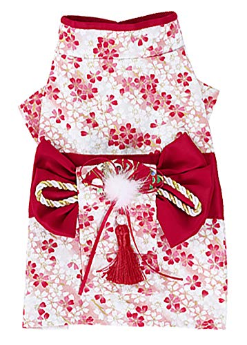 MaruPet Brocade Japanese Kimono for Girl Floral Pet Halloween Costume Bowknot Dog Dress for Small, Extra Small Dog Wiener Dog Teddy, Pug, Chihuahua, Shih Tzu, Yorkshire Terriers, Papillon Red S