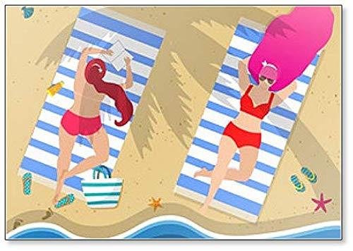 jong meisjes in zwemkleding ontspannen liggend op strand koelkast magneet
