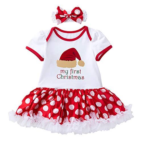 Baby Meisjes Kleding Sets Peuters Mijn Eerste Kerst Prinses Jurken Party Rok Kostuum Santa Xmas Romper Jumpsuit Dress up met Hoofdband Kleding Outfits Pasgeboren Kinderen 0-24 Maanden