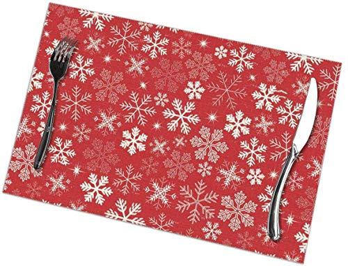Juego de 6 manteles individuales de copos de nieve de Navidad, lavables, antideslizantes, resistentes a las manchas, para mesa, antideslizantes, de 12 x 18 pulgadas