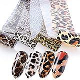 KHRGOLRT Pegatinas De Uñas 4 Unids/Set Pegatina De Lámina De Uñas Patrones De Estampado De Leopardo Transferencia Deslizadores De Color Puro para Calcomanía De Uñas Decoración De Manicura DIY