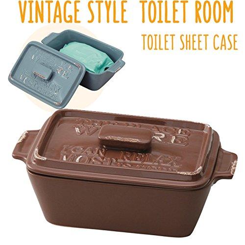 トイレ シートケース 陶器 除菌シートボックス ヴィンテージ ダークブラウン