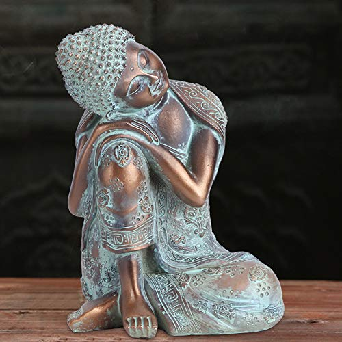 Kunsthandwerk Schlafender Buddha Kunstdekoration, Meditierendes Buddha-Ornament, Veranda aus Kunstharz im südostasiatischen Stil für Terrasse, Garten, Terrasse