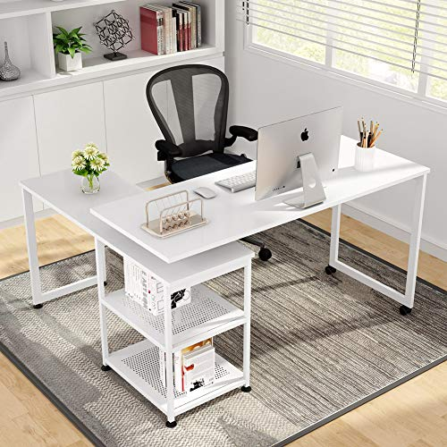 Tribesigns Reversible L-Shaped Desk, 360° Free Rotating Corner Computer Desk 55 inch Large Office Desk Modern Study Writing Table Computer Workstation with Storage Shelves for Home Office (White)