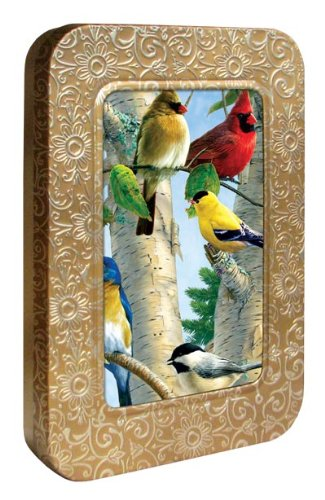 Tree-Free Greetings Noteables Notecards In Reusable Embossed Tin, 12 Card Assortment, Recycled, 4 x 6 Inches, Favorite Songbirds, Multi Color (76025)