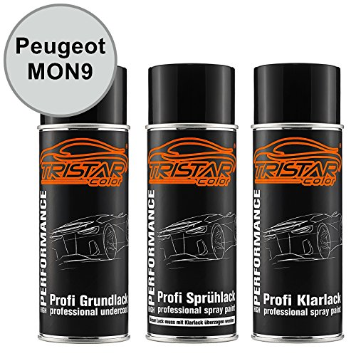 TRISTARcolor Autolack Spraydosen Set für Peugeot MON9 Bianco Perla Nacre/Perlmutt Weiss Nacre Grundlack Basislack Klarlack Sprühdose 400ml