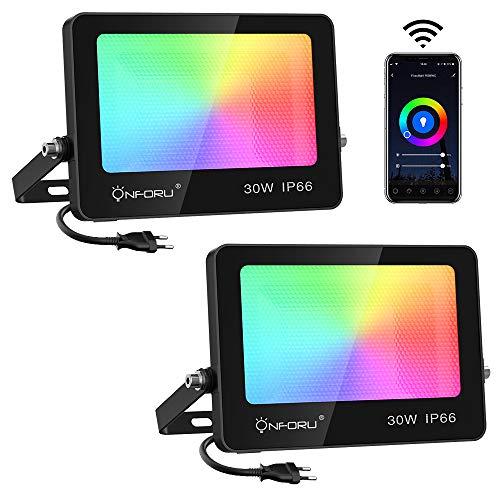 Onforu 30W LED RGB Projecteur WiFi, Alexa Couleur Projecteur Exterieur IP66 Etanche, Intelligent Echo APP Multicolore Spot LED avec Music Synchronize, 2700K 6000K Lumières Lot de 2 pour Jardin, Fête