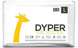 Dyper Responsibly Sourced Bamboo Baby Diapers | Ink Free, Soft + Durable | Large | 20-31 lbs | 35 Count