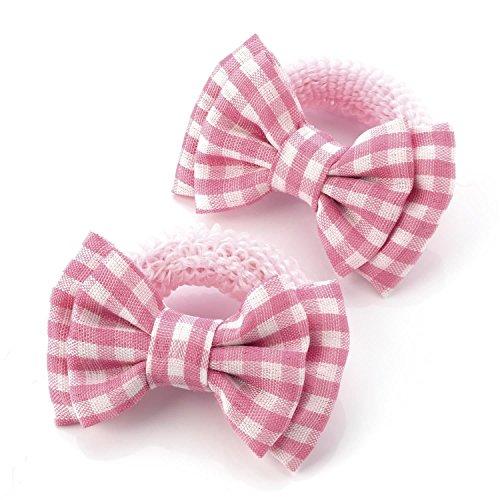 Click SelfieNew Ladies 5.5cm Bow Elastic One Pair Gingham Check Print Hair Elastics Accessories Pink