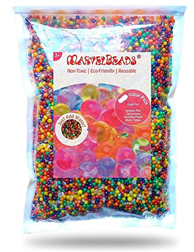 MarvelBeads MB12-250, Mezcla de Rainbow Water Beads, 8 onzas para rellenar Spa