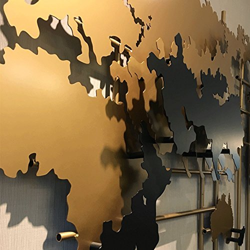 sankontran Handmade Creative Abstract 71 Inches Large Metal World Map Wall Art Decor Collectable Wall Sculpture for Living Room Home Decorations Office Decor