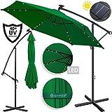 Kesser® Alu Ampelschirm Ø 300 cmLED mit An-/Ausschalter Solarpanel Kurbelvorrichtung UV-Schutz Aluminium Wasserabweisende Bespannung - Sonnenschirm Schirm Gartenschirm Marktschirm Grün