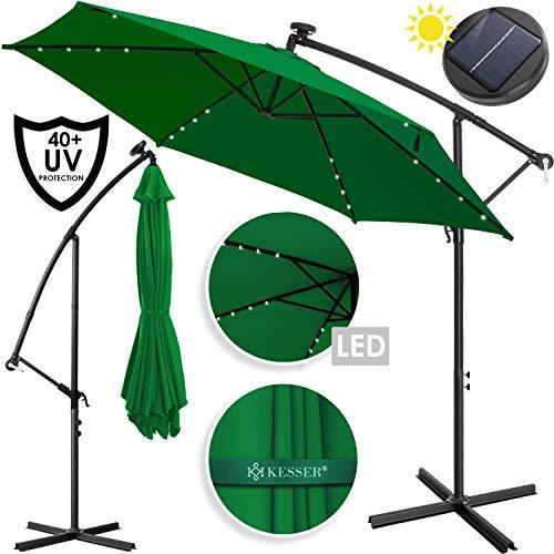 Kesser® Alu Ampelschirm LED Solar Ø300cm + Abdeckung mit Kurbelvorrichtung UV-Schutz Aluminium mit An-/Ausschalter Wasserabweisend - Sonnenschirm Schirm Gartenschirm Marktschirm Grün