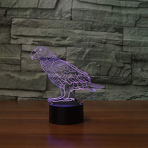 Parrot 3D Visual Light Color Illusion Touch Tafel LED Night Lights Groot Kerstmis cadeaus voor kinderen decoratie thuis
