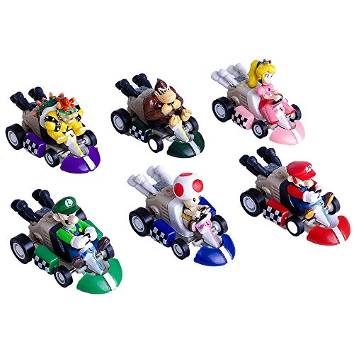 Cake Topper, Mini Mario Kart Pull Back Cars Cake Topper, Party Cake Decorations Cake Topper for Kids Birthday Decoration Baby Shower Party Supplies(6pcs)