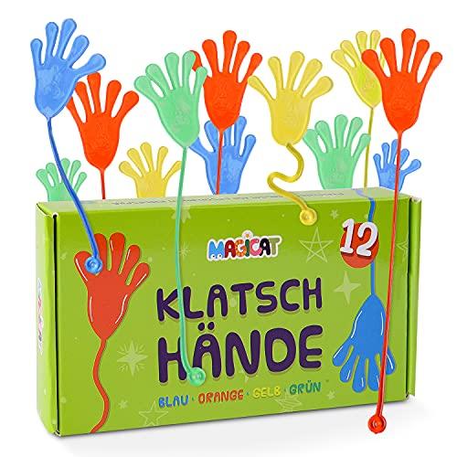 Magicat manos locas pegajosas 12 Pcs - relleno piñatas de cumpleaños infantil niño y niña - mano elástica adhesiva para regalo en fiestas infantiles - pegatinas de vinilo con diferentes colores