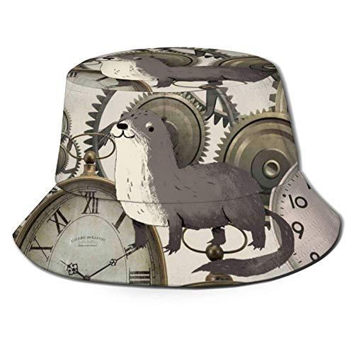 Vintage Steampunk Relojes Sombrero de Cubo Unisex Gorra de Verano al Aire Libre Sombreros de Sol Plegables para Senderismo Deportes de Playa Negro