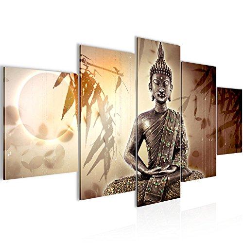 Bilder Buddha Wandbild 200 x 100 cm Vlies - Leinwand Bild XXL Format Wandbilder Wohnzimmer Wohnung Deko Kunstdrucke Braun 5 Teilig - MADE IN GERMANY - Fertig zum Aufhängen 500351a