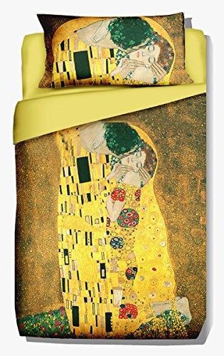 Deco Italia Set Copripiumino copriletto Klimt – Il Bacio 100% Cotone | Singolo 155 x 240 cm + Federa 50 x 80 cm