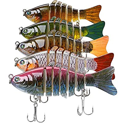 5 Pieces Fishing Lures Swimbait Bass Lures 3.9 Inch 0.53 oz Jointed Trout Crankbait Lures Carbon Steel Anchor Hook for Fishing