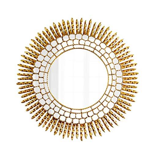 Miroirs Suspendu Au Miroir Mural Miroir De Salle De Bain Rond De Luxe Miroir De Mur Miroir À La Maison Miroir De Mur Évier Monté Sur Un Mur (Color : Gold, Size : 60cm/23.6inches)