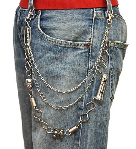 jameitop®Hosenkette Taschenlampe/Totenkopf Schlüsselkette für Punker BMX Biker Moto-X Schlüssel Kette